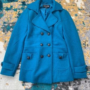 Forever 21 Blue Wool Coat & Scarf
